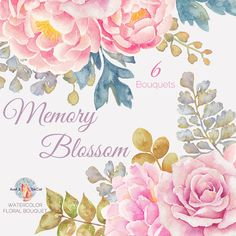 Watercolor Memory Blossom Bouquet Flowers Hand Painted, Floral, Peonies, Rose, Wedding Invitation, Greeting Card, DIY Clip Art