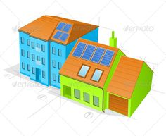 Blue and Green Buildings  #GraphicRiver         Modern office building
