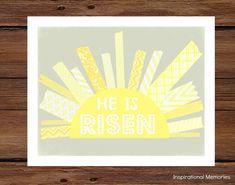 """Framed Christian Easter Sun Print  """"He is Risen!"""" 8.5""""x11"""" or 5""""x7"""" Home Decor"""