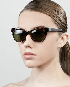 Leather-Arm Cat-Eye Sunglasses, Tortoise by The Row at Neiman Marcus.