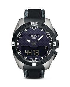 4b91619151d Tissot T-Touch Solar Tony Parker Limited Edition T-Touch Expert solar black  analog digital dial black leather men s watch Digital multi-function sub- dial.
