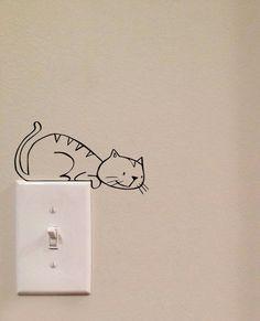 Pouncing Cat Light Switch Cute Vinyl Wall Decal Sticker Art