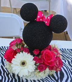 just styrofoam balls spray-painted  placed together with toothpicks! Mom this might be a cute addition to your minnie party packages (feather boa at the bottom instead of flowers)