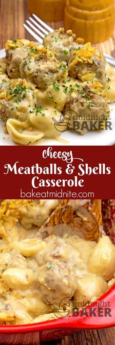 Meatballs and Shells Casserole ~ pasta cooked in a creamy cheesy beefy sauce.Cheesy Meatballs and Shells Casserole ~ pasta cooked in a creamy cheesy beefy sauce. Casserole Dishes, Casserole Recipes, Pasta Casserole, Casserole Kitchen, Burrito Casserole, Brunch Casserole, Vegetable Casserole, Cauliflower Casserole, Chicken Casserole