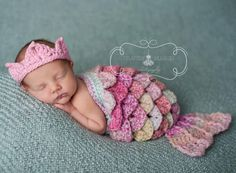 Newborn Mermaid Costume / Cape Set GREAT for Infant Photos. $40.00, via Etsy.