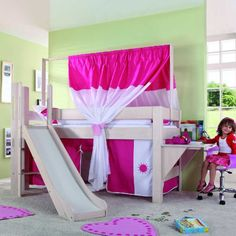 Spielbett Leo - Buche massiv white-wash lackiert m. Vorhangset pink-weiß-sonne | Home24