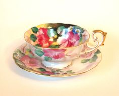 Occupied Japan Teacup Hand Painted with Pink and Green Flowers Chubu China Circa 1951 by HouseofLucien