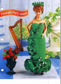 "Herbie's Doll Sewing, Knitting & Crochet Pattern Collection: Barbie Size ""Emerald Green Party Gown"" Knitting Pattern By Mary Layfield"