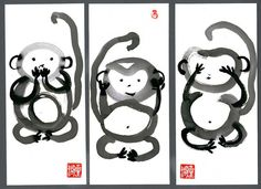 Three Monkeys Speak no...Hear no...See no.. 3  Fine Art Sumi Ink Zen Paintings by ZenBrush