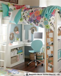 Cute idea for a little girl's room - loft bed with little desk area. The shelves with the corkboard sides are a nice touch.