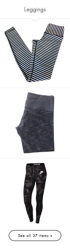 """Leggings"" by erinleigh02 ❤ liked on Polyvore featuring pants, leggings, bottoms, black, pantaloni, black white, black white striped leggings, striped leggings, stripe leggings and striped pants"