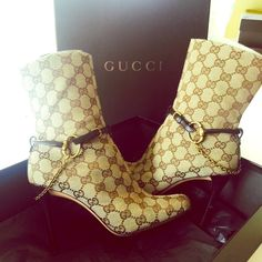 Authentic Gucci boots Authentic Gucci boots used small scuff on left heel which is shown in the picture receipt and box included. Size 7 1/2 Gucci Shoes Ankle Boots & Booties