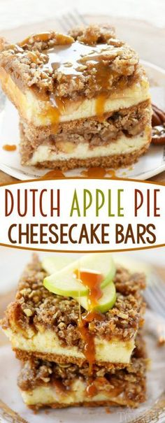 Dutch Apple Pie Cheesecake Bars A graham cracker crust a decadent cheesecake layer spiced apples and finally my favorite streusel topping Amazing The perfect dessert for. Köstliche Desserts, Apple Desserts, Apple Recipes, Delicious Desserts, Dessert Recipes, Yummy Food, Awesome Desserts, Creative Desserts, Amish Recipes