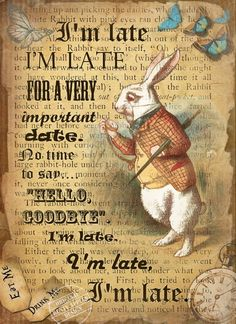 Alice in Wonderland The White Rabbit Vintage Retro Style Metal Sign Choose Your Own Size - Mad Hatter gala - Alice In Wonderland Illustrations, Alice And Wonderland Quotes, Alice In Wonderland Tea Party, White Rabbit Alice In Wonderland, Mad Hatter Party, Mad Hatter Tea, Mad Hatters, Ideas Vintage, Retro Vintage