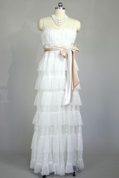 BCBG tiered lace gown