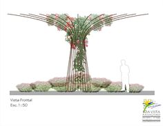 Para um grande jardim sobre laje, onde não poderia ser plantada uma arvore de grande porte, a solução encontrada foi criar uma arvore leve que gere sombra e verde como uma verdadeira.