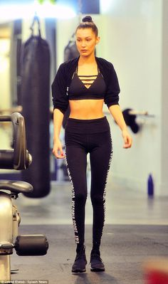Abs fab: Bella Hadid was pulling no punches as she got stuck into a grueling boxing class at a NYC gym on Wednesday