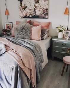 44 Best Blush & Grey Bedroom images | Interior, Blush grey ...