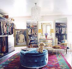 Nanette Lepore's Glamorous Dressing Room // Chinese Art Deco rug, blue velvet ottoman, mirrored cabinets, leopard chair
