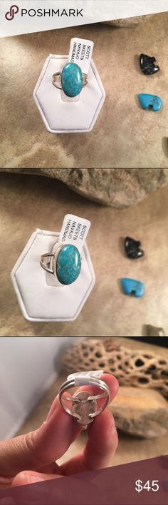 Navajo Kingman Turquoise & Sterling Ring Size 5.5 This is a wonderful piece made by Scott Skeets it is made of Sterling Silver and Kingman Turquoise. This ring is a size 5.5 and is right at 5/8 of an inch long and 3/8 of an inch wide. The ring is signed by the artist and stamped sterling.    Please contact me with any questions and thank you for looking. Jewelry Rings