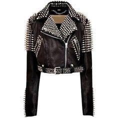 25315707 New handmade Studded Black Leather Jacket For Women Spiked Leather Jacket,  Black Biker Jacket,