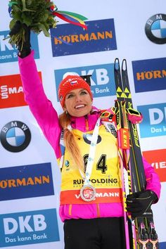 Gabriela Koukalova of Czech Republic during the IBU Biathlon World Cup Women's Sprint on January 14, 2017 in Ruhpolding, Germany.: