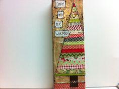 mixed media canvas Holiday Tree Joy to by heartfeltByRobin Christmas Arts And Crafts, Christmas Mix, Pallet Christmas, Christmas Makes, Christmas Stuff, Holiday Crafts, Christmas Ideas, Xmas, Christmas Ornaments