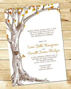 Sketched Tree Fall Wedding Invitation with by nmiphotocreations, $3.00