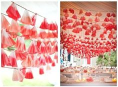 Great DIY idea: Dip-dyed Coffee Filter Garland | Can be customized using any color! #garland #diy #wedding decor