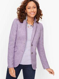Classic Shetland Blazer - Mélange | Talbots Classic Style Women, Modern Classic, Shetland, Purple Jacket, Almost Perfect, Stripes Fashion, Fashion 2020, Fashion Pics, Sweater Shop