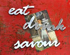 Mirror Acrylic Fridge Magnets - Set of 3 (Eat, Drink, Savour) #kitchen $25