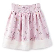 《LIZ LISA 魔法少女まどか マギカ》クッキーリボン柄パネルスカート via Polyvore featuring skirts