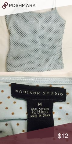 Madison Studio Size Medium Tank Top Lovely baby blue tank with built in shelf bra.   Thank you SO much for visiting my Posh Closet.  If you have questions just let me know.  Feel free to make an offer and/or bundle.  Happy Shopping!!! 💕💕💕  B1 Madison Studio Tops Tank Tops