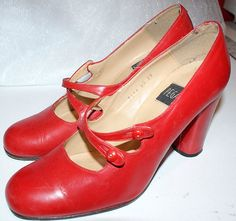 Vintage Red Leather Shoes... 30s Retro style... by TheMysteryAttic, $35.00