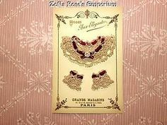 French Presentation Card ~ Beige Lace Collar and Cuffs (item #1283131)