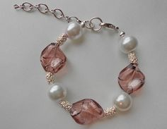 Bracelet Pink Twisted Glass & Pearls by K by storystonesjewelry