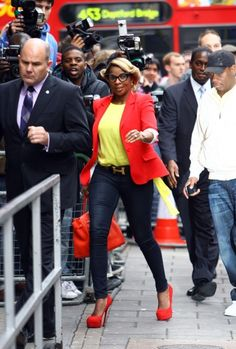 Black Woman! Mary J. Blige is seen arriving at BBC Radio 1 Studios in London