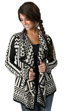 Angie® Women's Black and White Aztec Print Long Sleeve Cardigan Cowgirl Outfits, Western Outfits, Western Wear For Women, Black Cardigan, Outerwear Women, Cardigans For Women, Aztec, Hippies, Cosmetology