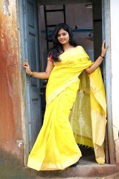 Beautiful Tamil Girl Megana In Traditional Indian Yellow Saree