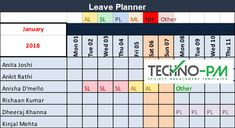 Using Leave plan template on monthly or annual basis helps the Project Managers to plan things better and ensure that the project is not impacted.