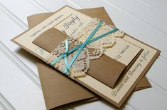 Tiffany Blue Ribbon and Lace Wedding Invitations: Unique Handmade Rustic Paper Bag Kraft Invites- Custom Colors