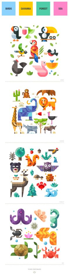 Magic animal world, geometric flat