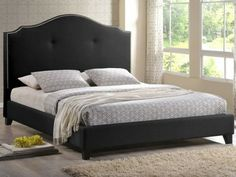 Onyx Modern Marsha Scalloped Black Modern Bed with Upholstered Headboard - Queen Size