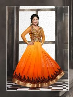 Yellow Orange Georgette Elegant Anarkali Salwar  Kameez eid anarkali salwar suit