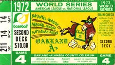 1972 World Series | 1972 World Series Game 4 Ticket Stub Oakland A's Reds