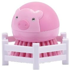 Boston Warehouse Suds Buds Brush Scrubber and Holder, Pig in Pen Design