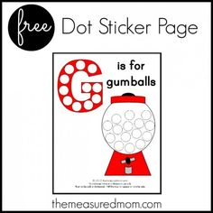 Free Alphabet Printable: G is for Gumball