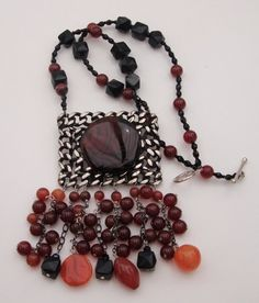 CARNELIAN & BLACK ONYX NecklaceScottish Agate on by MOUNTAINPOODLE