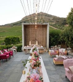 2 bright pink chairs and other couches, chairs, ottomon in blush Fairy Lights, Bright Pink, Our Wedding, Table Decorations, Furniture, Beautiful, Pink Chairs, Couches, Bulbs