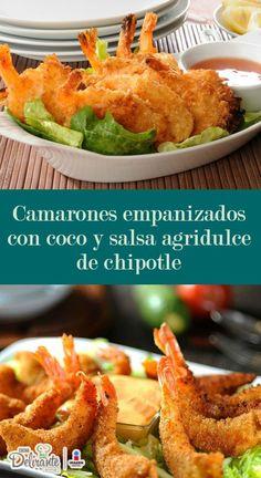 receta de camarones empanizados con coco y salsa de chipotle | CocinaDelirante